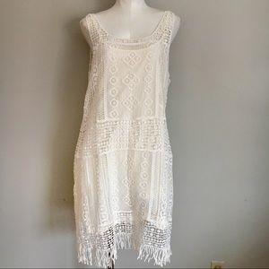 Lauren Ralph Lauren Cream Lace Fringe Dress